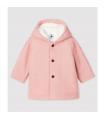 Manteau en drap de laine rose